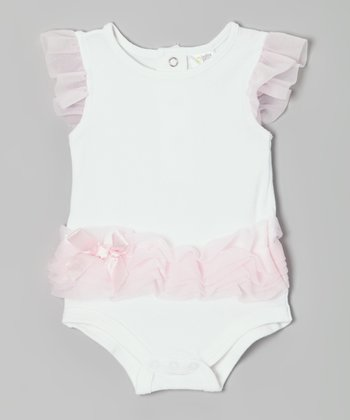 White & Pink Ruffle Angel-Sleeve Bodysuit