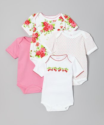 Pink & White Cherry Floral Bodysuit Set