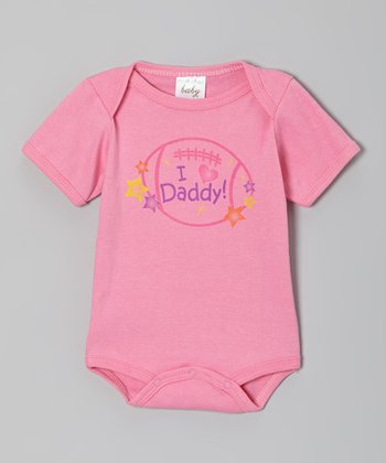 Pink 'I Love Daddy' Football Bodysuit
