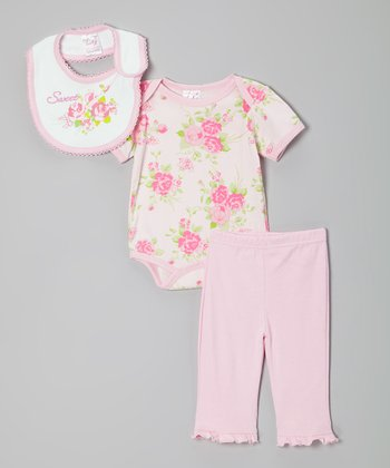 Pink 'Sweet' Floral Bib Set