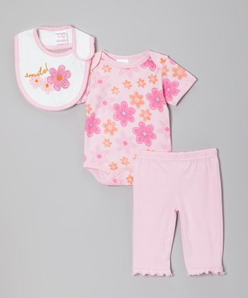 Pink 'Smile' Floral Bib Set