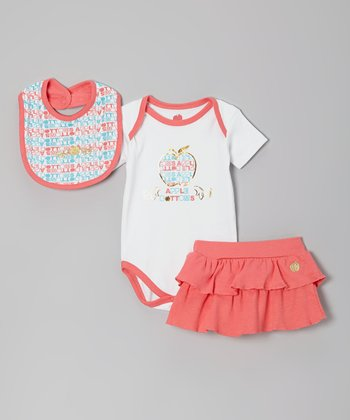 Peach & Blue Apple Bib Set - Infant