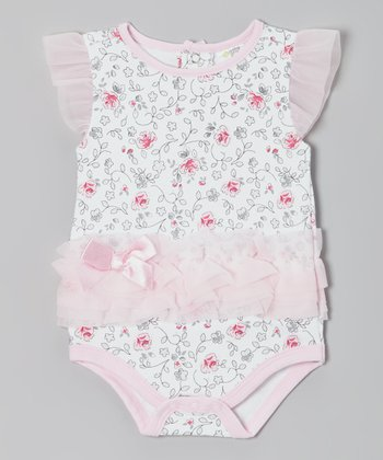 White & Pink Floral Angel-Sleeve Bodysuit