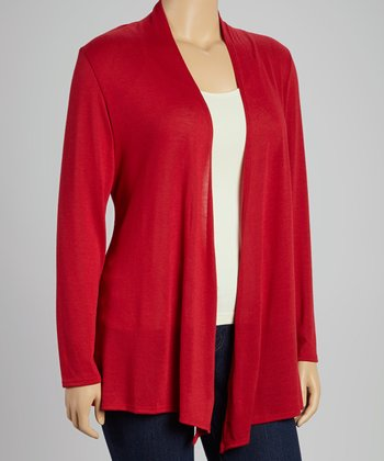 Red Open Cardigan - Plus