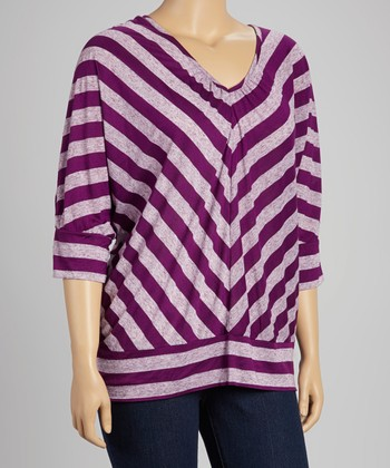 Grapevine & Gray Chevron Stripe Banded V-Neck Top - Plus