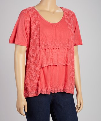 Rosy Coral Tiered Lace Top - Plus
