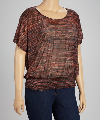 Brown & Coral Marbled Banded Scoop Neck Top - Plus