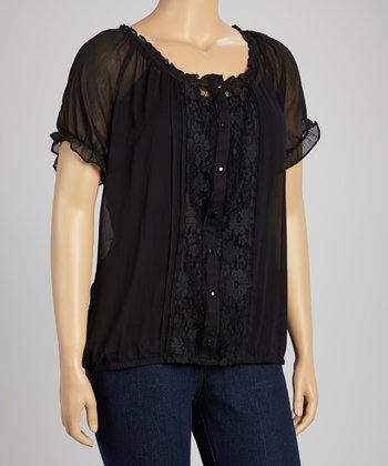 Black Lace & Chiffon Button-Up Top - Plus