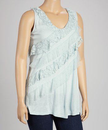 Allure Blue Lace Stripe Tank - Plus