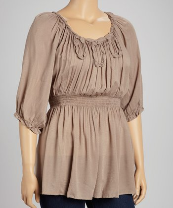 Taupe Gathered Peasant Top - Plus