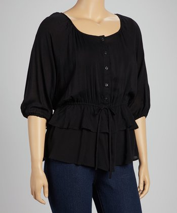 Black Tiered Peasant Top - Plus