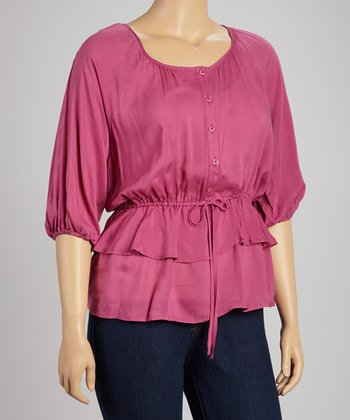 Magenta Tiered Peasant Top - Plus