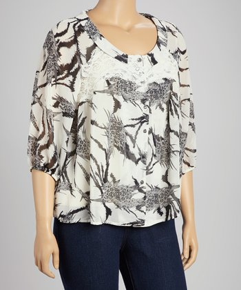 Black & White Leopard & Lace Button-Up Top - Plus