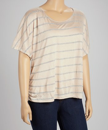 Blush & Gray Stripe Scoop Neck Top - Plus