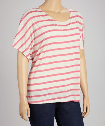 Oatmeal & Pink Stripe Scoop Neck Top - Plus