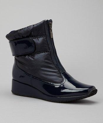 Antia Shoes Navy Leather Nikita Boot