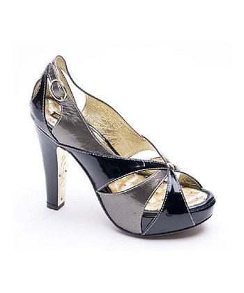 Black & Gray Karlson Peep-Toe Pump - Women