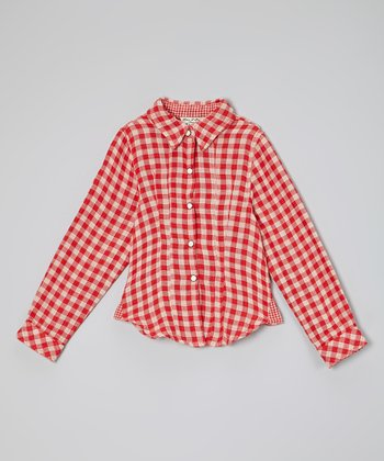 Rouge Checkerboard Adriana Button-Up - Toddler & Girls
