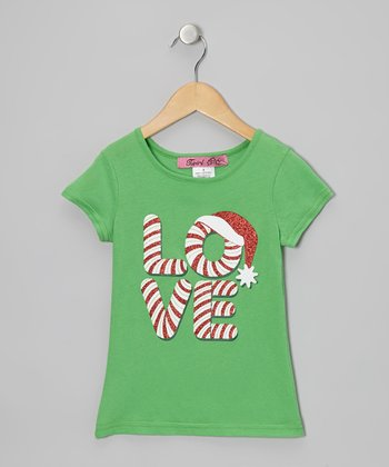 Fir 'Love' Candy Cane Tee - Girls