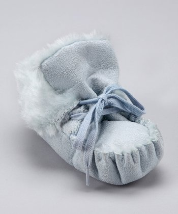 Blue Faux Fur Moccasin