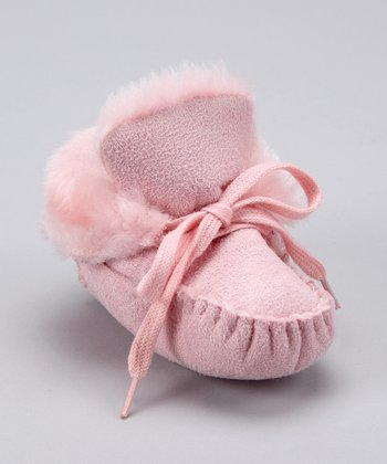 Pink Faux Fur Moccasin Booties