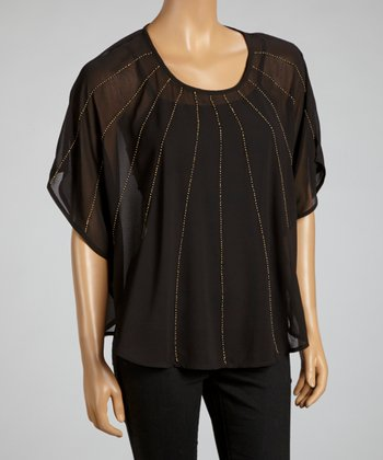 Black Sheer Beaded Dolman Top