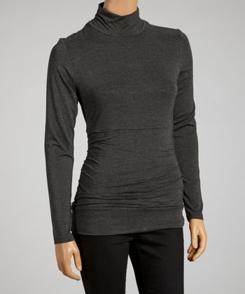 Heather Charcoal Flatten It Mock Neck Top