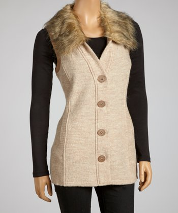 Light Caramel Faux Fur Wool Vest