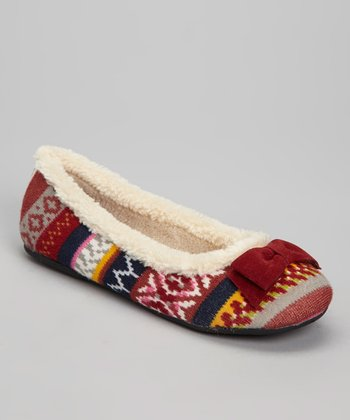 Red & Beige Misty Ballet Flat
