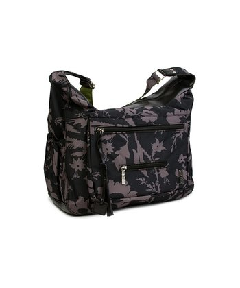 Black & Gray Floral Diaper Hobo Bag