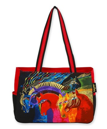 Red & Blue Wild Horses of Fire Medium Tote