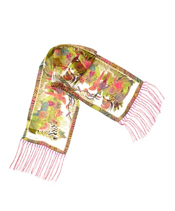 Ivory Secret Jungle Oblong Silk Scarf