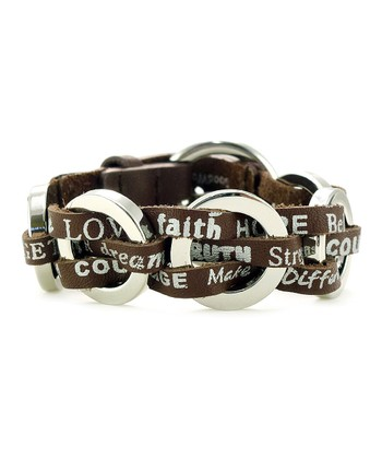 Brown Leather Buckle Lucky Bracelet