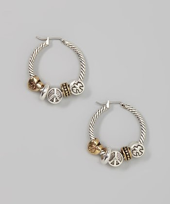 Silver & Gold Peace Hoop Earrings