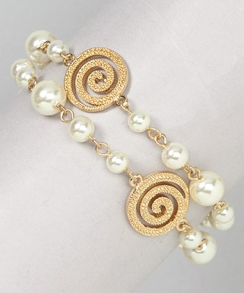 Pearl & Gold Swirl Stretch Bracelet