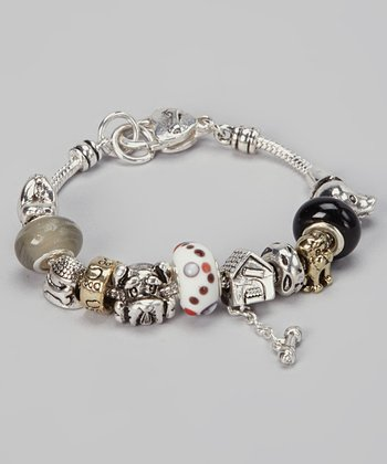 Silver & Gold Dog Beaded Bracelet