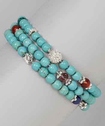 Turquoise Beaded Stretch Bracelet Set
