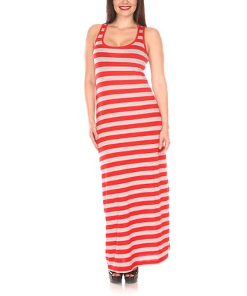 Red & Gray Stripe Racerback Maxi Dress - Women