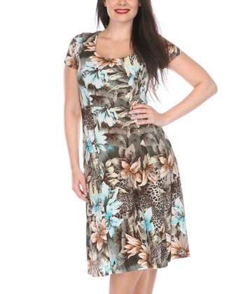 Blue & Brown Jungle Floral Scoop Neck Dress