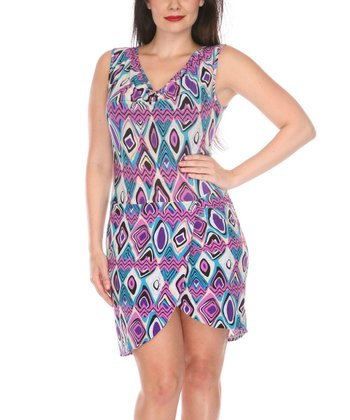 Purple & Teal Abstract Cowl Neck Dress