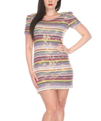 Yellow & Pink Zigzag Puff-Sleeve Scoop Neck Dress