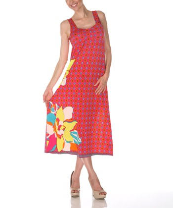 Fuchsia & Yellow Floral Square Neck Dress