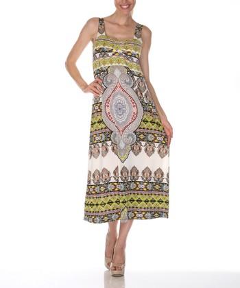 Ivory & Yellow Damask Square Neck Dress