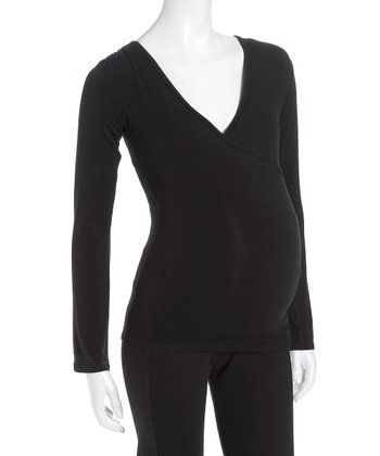 Black Maternity & Nursing Surplice Top