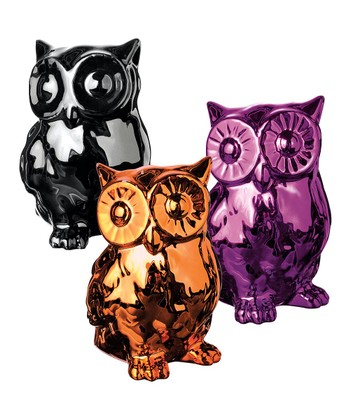 Shiny Ceramic Owl Figurine Set
