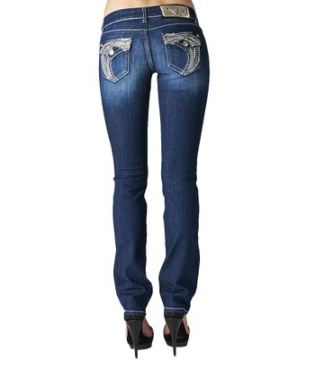 Dark Blue Straight-Leg Jeans - Women