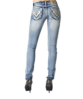 Light Blue Acid Wash Embellished Skinny Jeans - Women