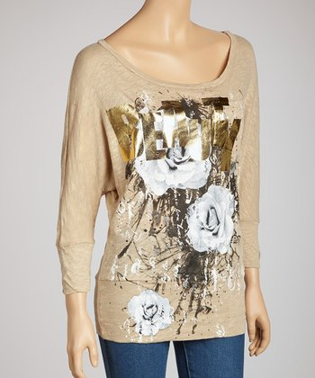 Beige Floral 'Beauty' Dolman Top