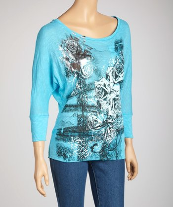 Light Blue Floral Dolman Top