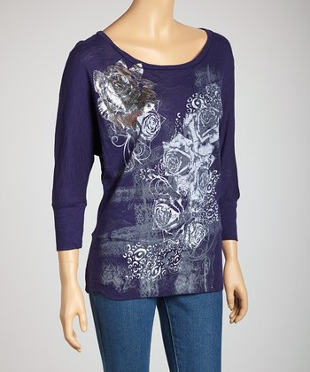 Navy Floral Dolman Top